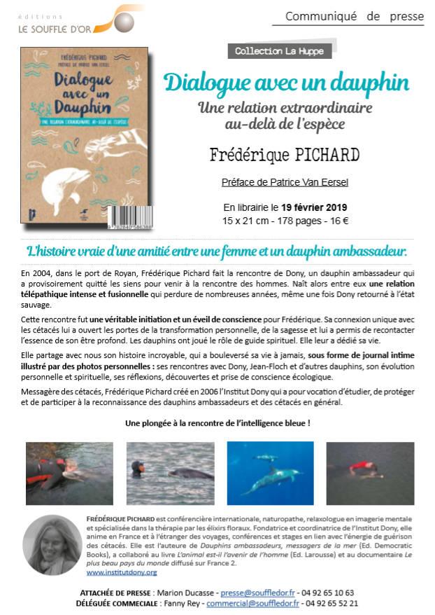 Dialogue avec un Dauphin livre de Frédérique PICHARD, communiqué de presse